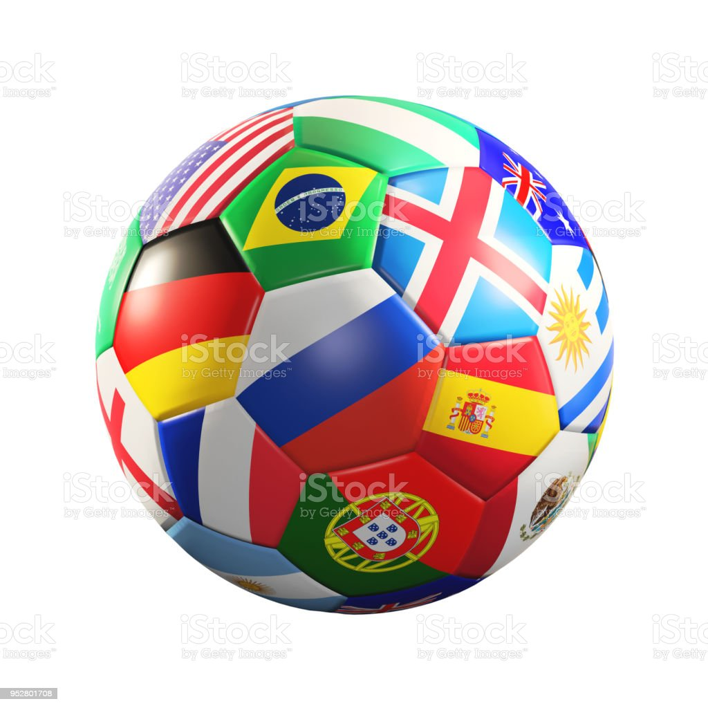 soccer ball with flags 3d rendering стоковое фото