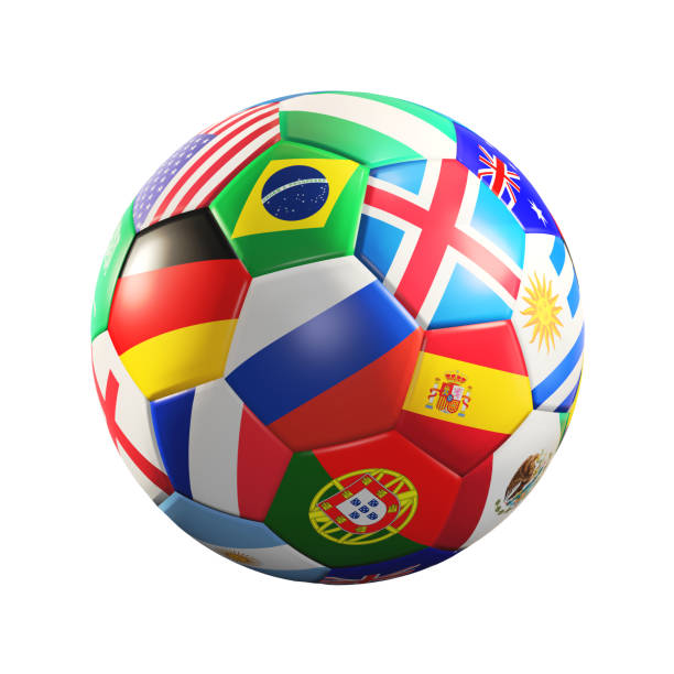 soccer ball with flags 3d rendering stock photo