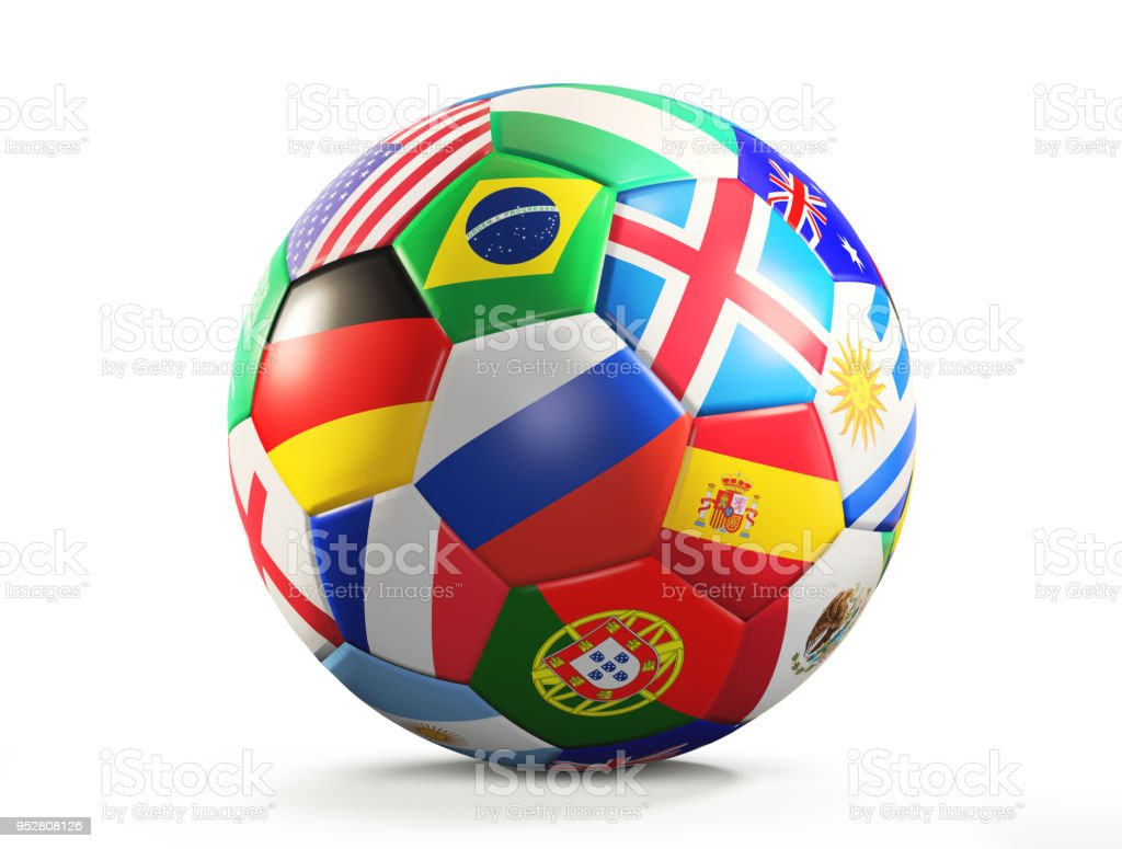 ballon de soccer avec le rendu 3d de conception de drapeaux isolé - Photo