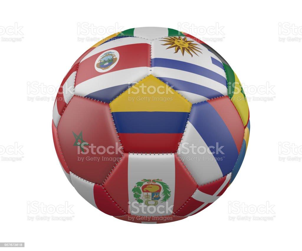 Balón de fútbol con banderas aislado sobre fondo blanco, Colombia en el centro, render 3d. - foto de stock