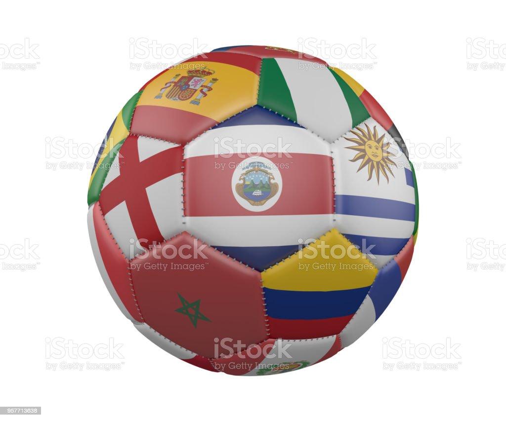 Balón de fútbol con banderas aislado sobre fondo blanco, Costa Rica en el centro, render 3d. - foto de stock