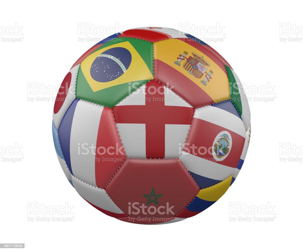 Balón de fútbol con banderas aislado sobre fondo blanco, Inglaterra en el centro, render 3d. - foto de stock