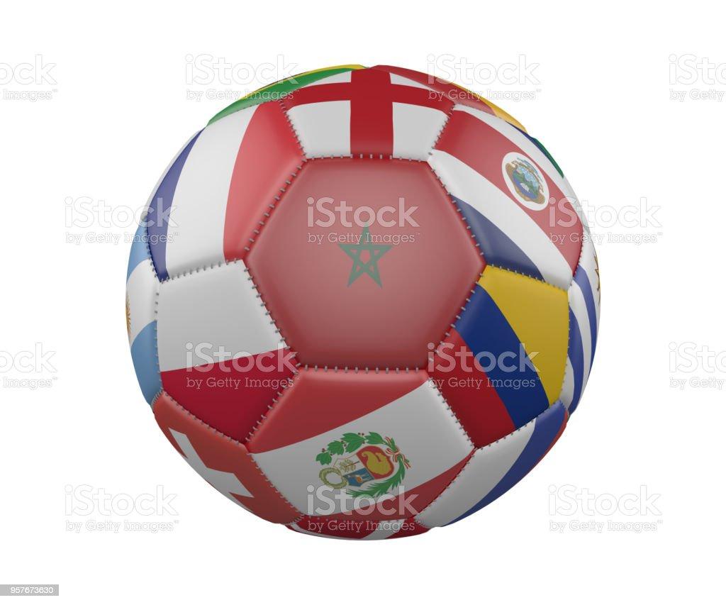 Balón de fútbol con banderas aislado sobre fondo blanco, Marruecos en el centro, render 3d. - foto de stock