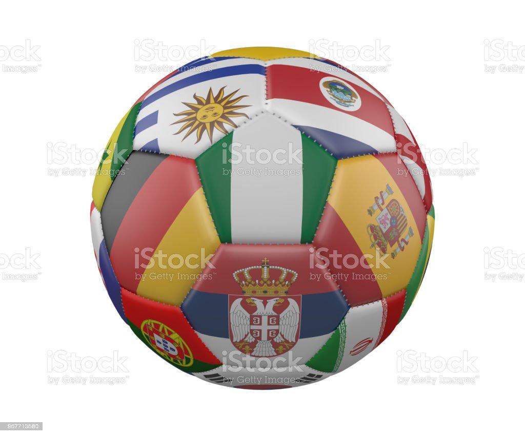 Balón de fútbol con banderas aislado sobre fondo blanco, Nigeria en el centro, render 3d. - foto de stock