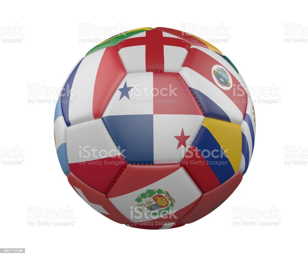 Balón de fútbol con banderas aislado sobre fondo blanco, Panamá en el centro, render 3d. - foto de stock