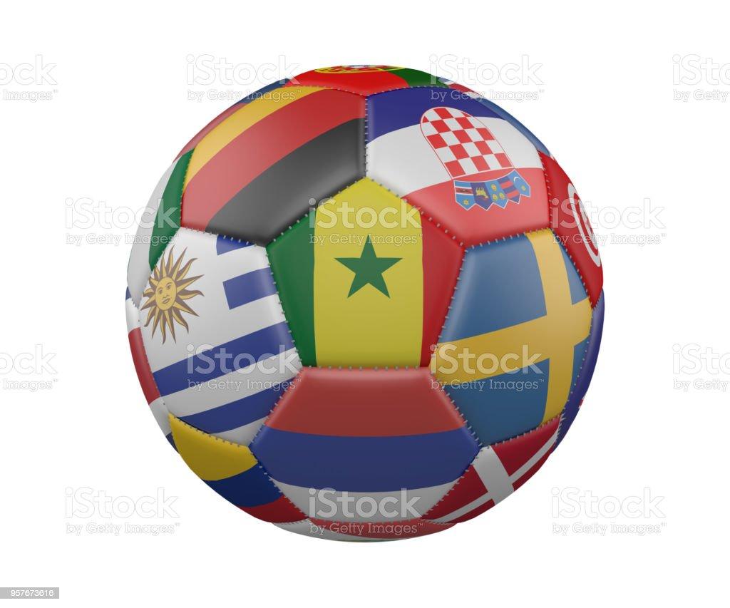 Balón de fútbol con banderas aislado sobre fondo blanco, Senegal en el centro, render 3d. - foto de stock