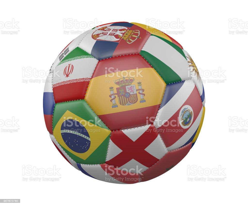 Balón de fútbol con banderas aislado sobre fondo blanco, España, en el centro, render 3d. - foto de stock