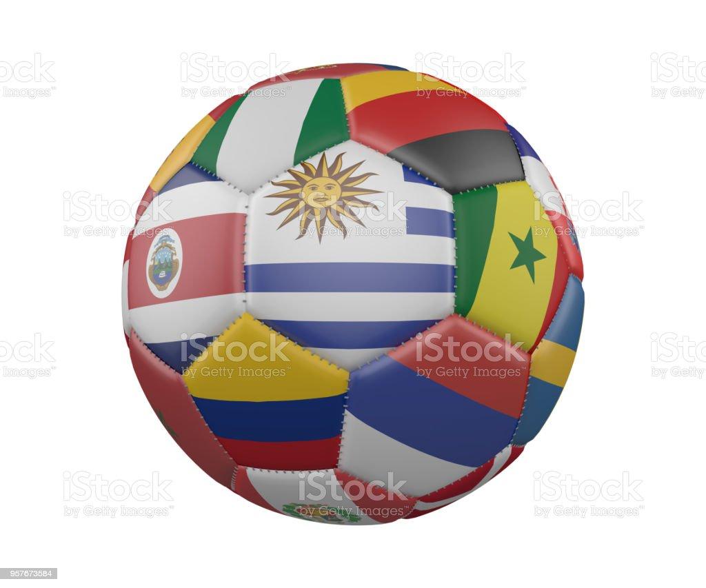 Balón de fútbol con banderas aislado sobre fondo blanco, Uruguay en el centro, render 3d. - foto de stock