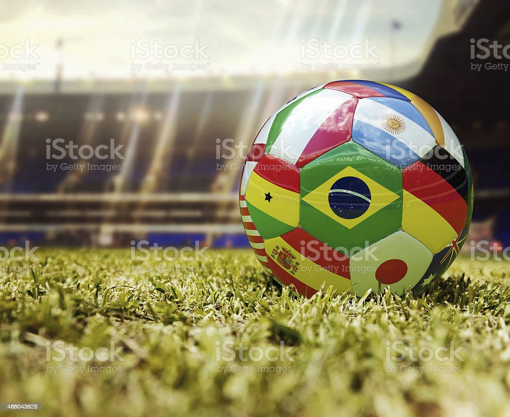Soccer ball with flags of different countries stock photo