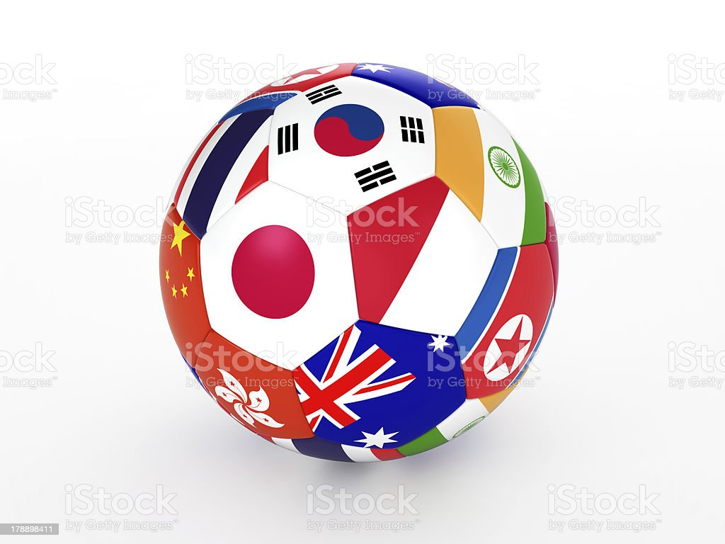 Soccer ball with flags of the Asian countries, isolated stock photo