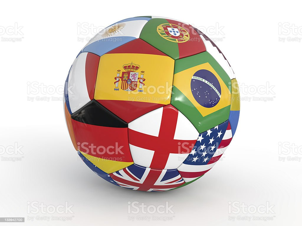 soccer ball with flags of various country royalty-free stock photo