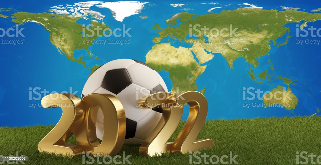 soccer ball with golden 2022 bold letters and world map....