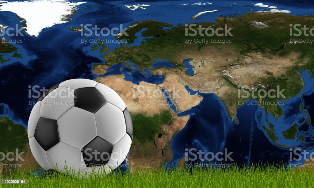 Soccer Ball With Green Lawn And World Map Focused On Qatar