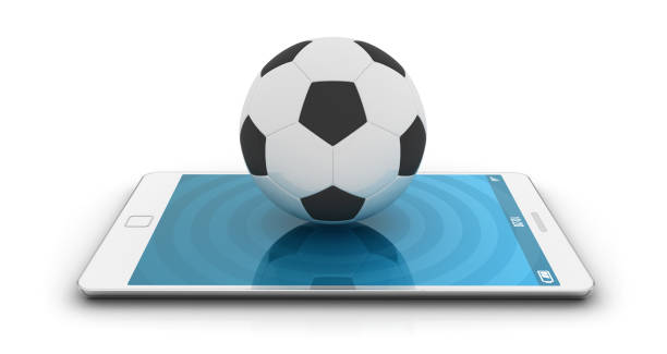Soccer ball with hand cursor stock photo