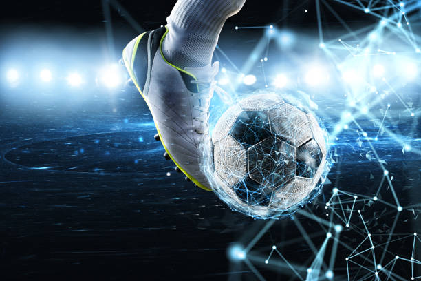 Soccer ball with internet network effect. Concept of digital bet - foto stock