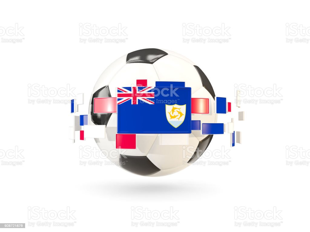 Soccer ball with line of flags. Flag of anguilla stock photo