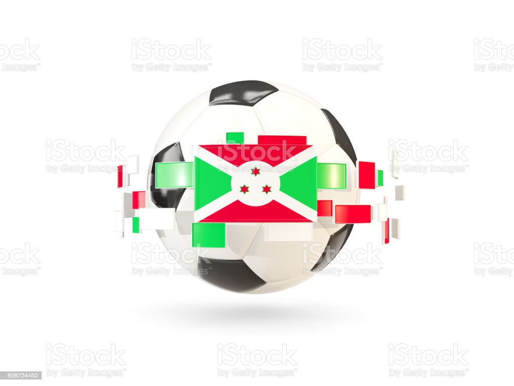 Soccer ball with line of flags. Flag of burundi stock photo