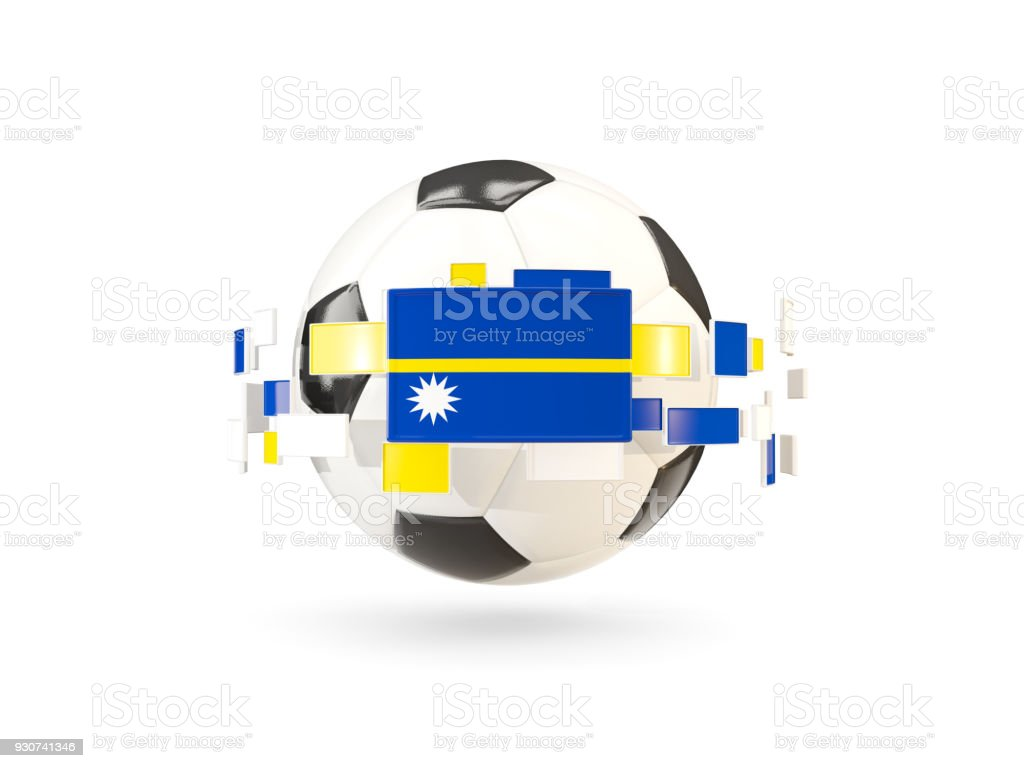Soccer ball with line of flags. Flag of nauru stock photo