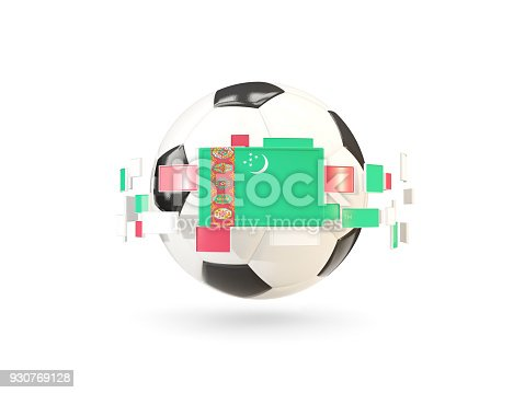 Soccer Ball With Line Of Flags Flag Of Turkmenistan Stock Photo