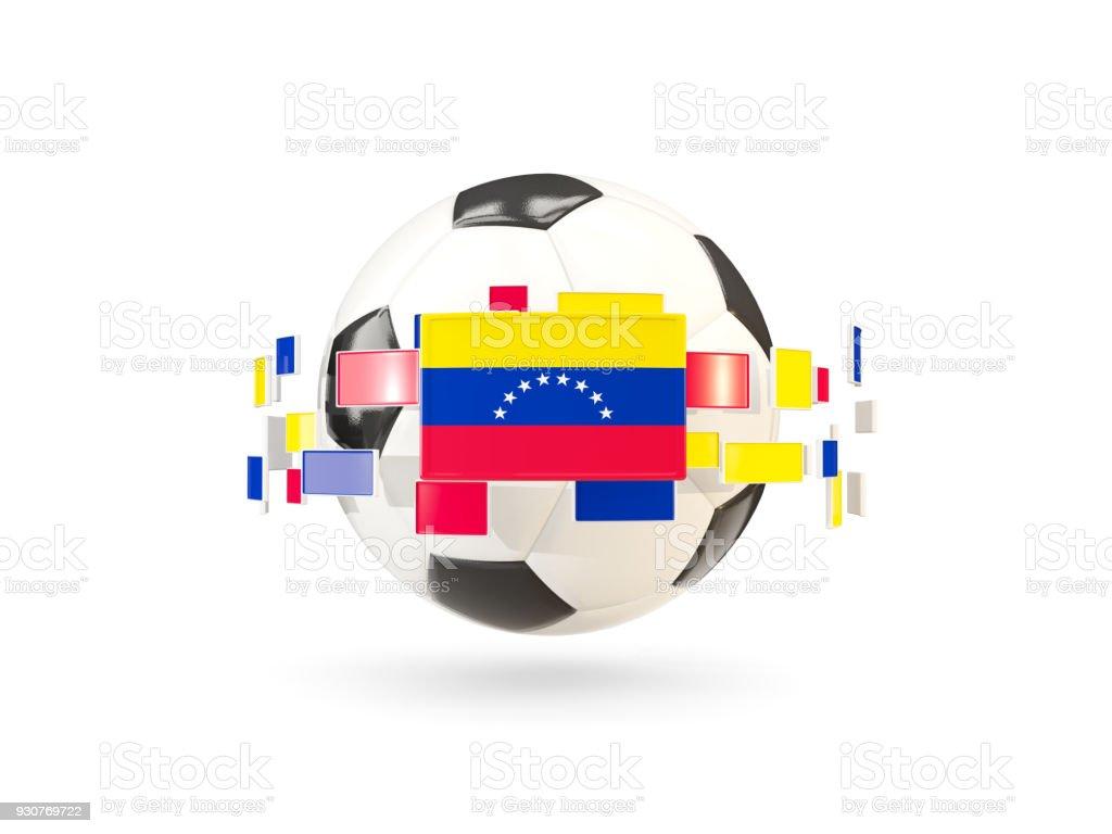 Balón de fútbol con la línea de banderas. Bandera de venezuela - foto de stock