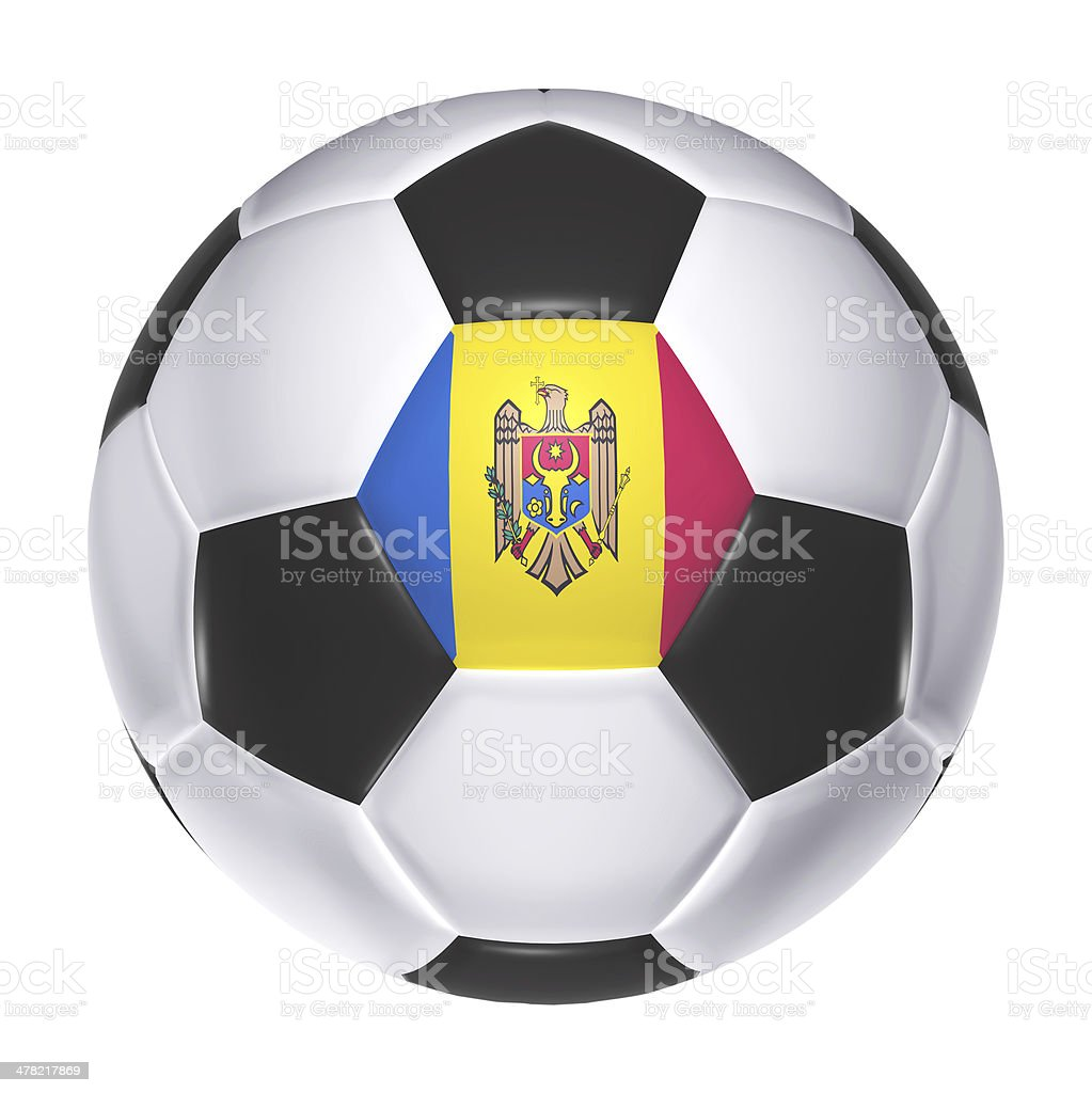 Soccer ball with Moldova flag stock photo