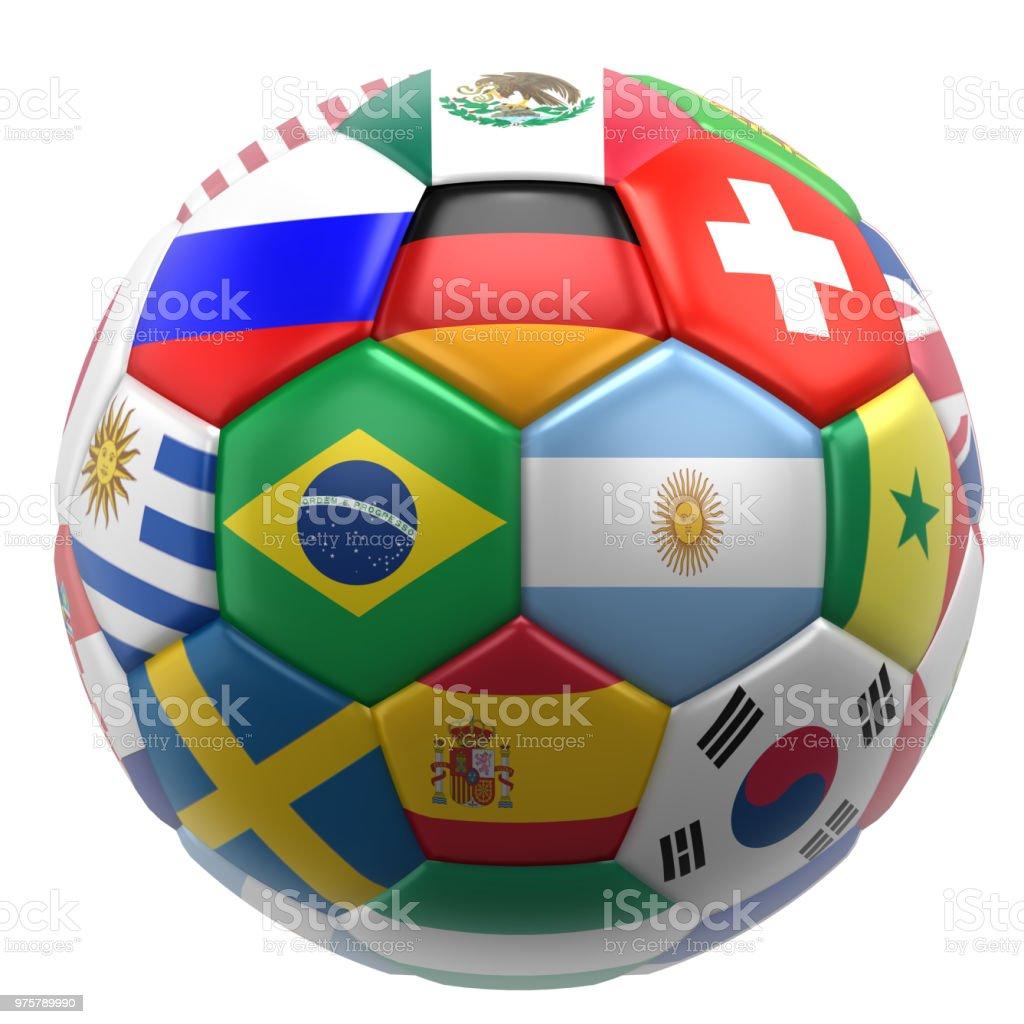 Balón de fútbol 3D con banderas de las Naciones - foto de stock