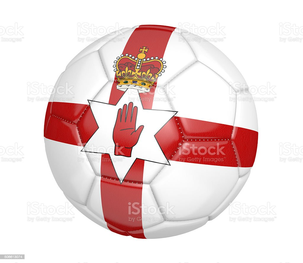 soccer ball with the country flag colors of northern ireland stock