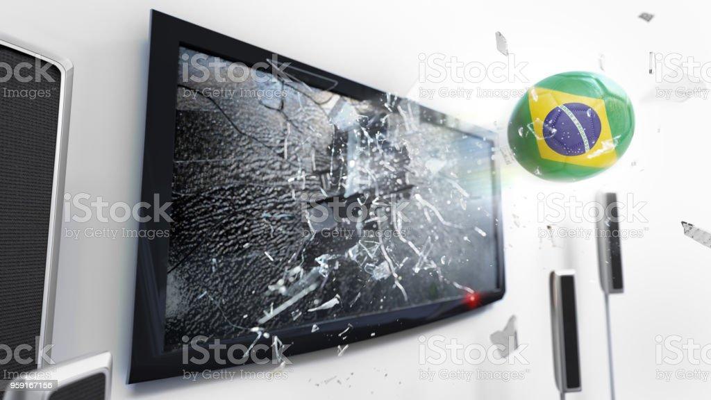 Bola de futebol com bandeira do Brasil chutou através de uma tela de tv quebrando. (Série de renderização 3D) - foto de acervo