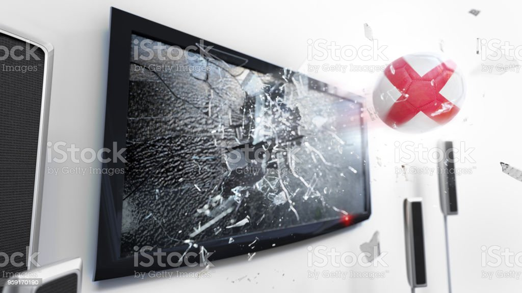 Soccer ball with the flag of England kicked through a shattering tv screen.(3D rendering series) Soccer ball with the flag of England flying through a shattering tv screen.(3D rendering series) Backgrounds Stock Photo