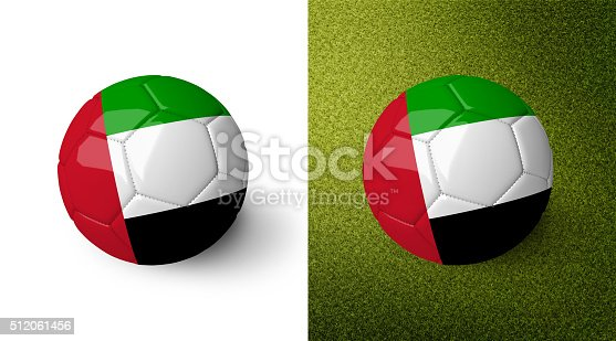 992854608 istock photo Soccer ball with the flag of the United Arab Emirates. 512061456