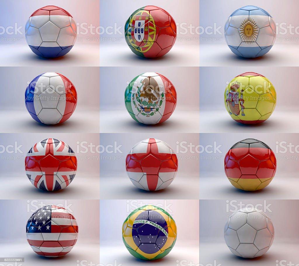 Pelota de fútbol con mundo equipos de Banderas - foto de stock