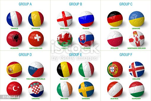 istock Soccer balls with country flags isolated on white background. 514323814