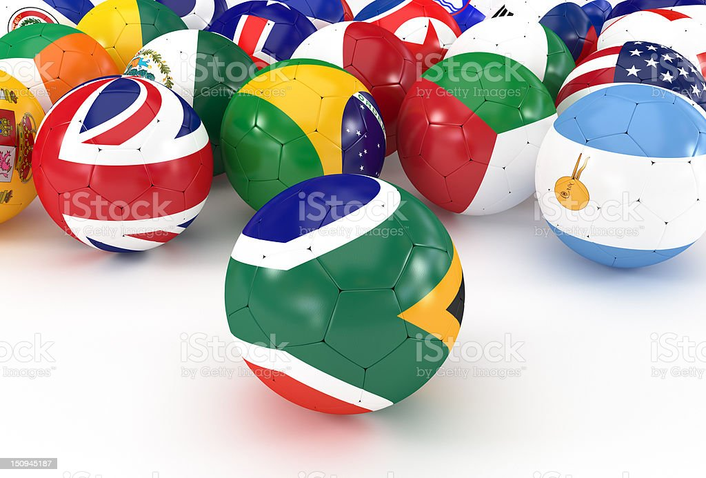 Soccer Balls with South Africa and International Flags stock photo