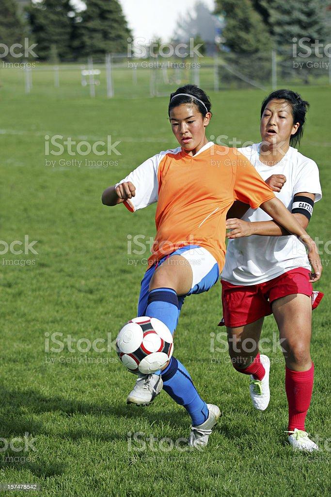 Soccer Battle Grimace with copyspace stock photo