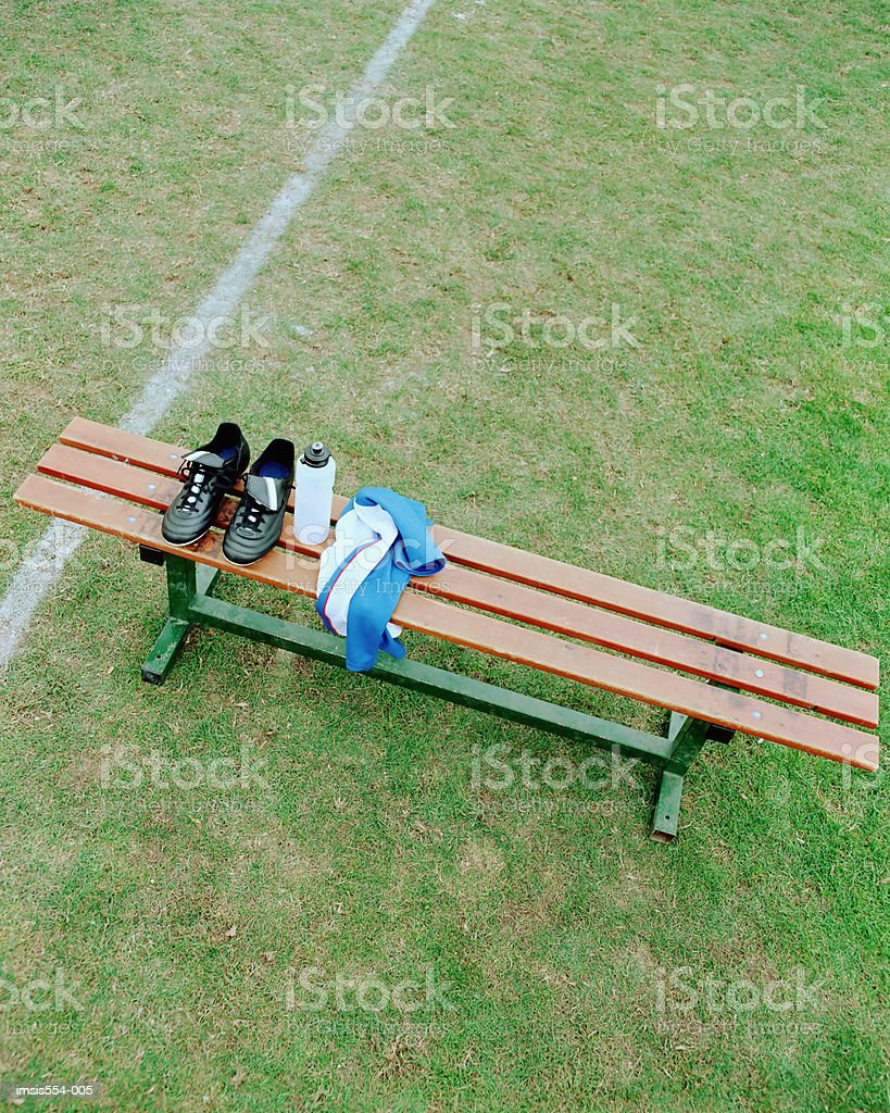 Soccer boots on bench royalty-free 스톡 사진