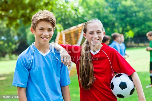 istock Soccer buddies during soccer practice 598217390