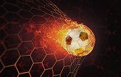 soccer - burning fireball in the net