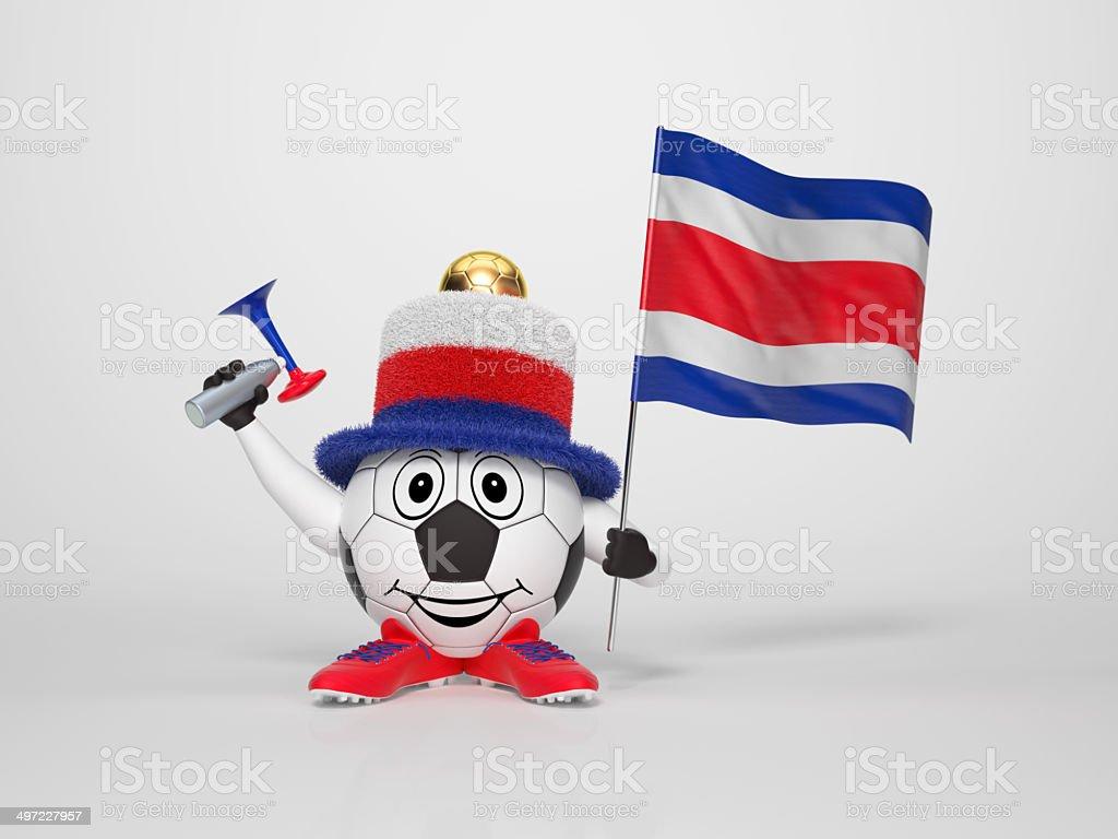 Ventilador apoyo carácter de fútbol de Costa Rica - foto de stock