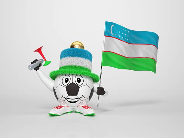 Fußball-fan unterstützt Usbekistan Charakter – Foto