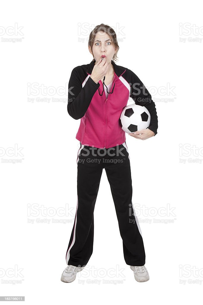 Soccer Coach Blowing Whistle stock photo