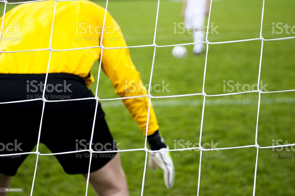 Soccer competition with close up of goal net royalty-free stock photo