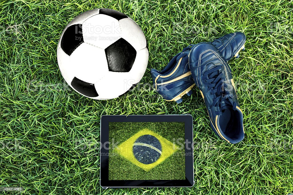 Soccer concepts - Brazil flag royalty-free stock photo