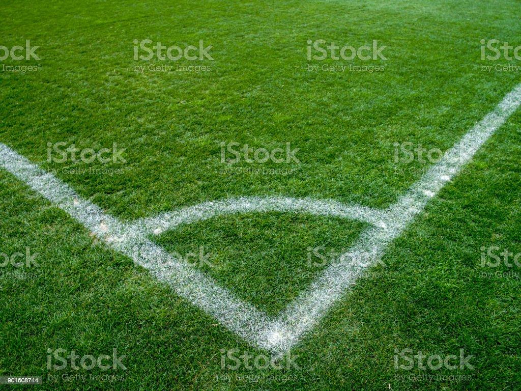 Soccer corner kick marker stock photo