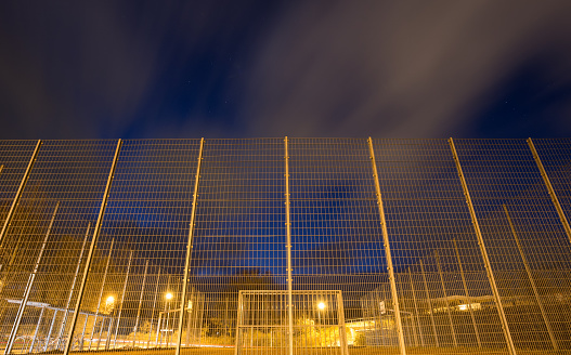 soccer court cage at night