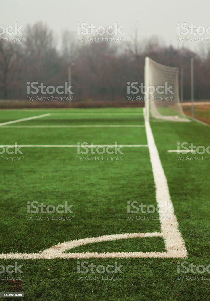 Soccer Court Lines and Grass stock photo