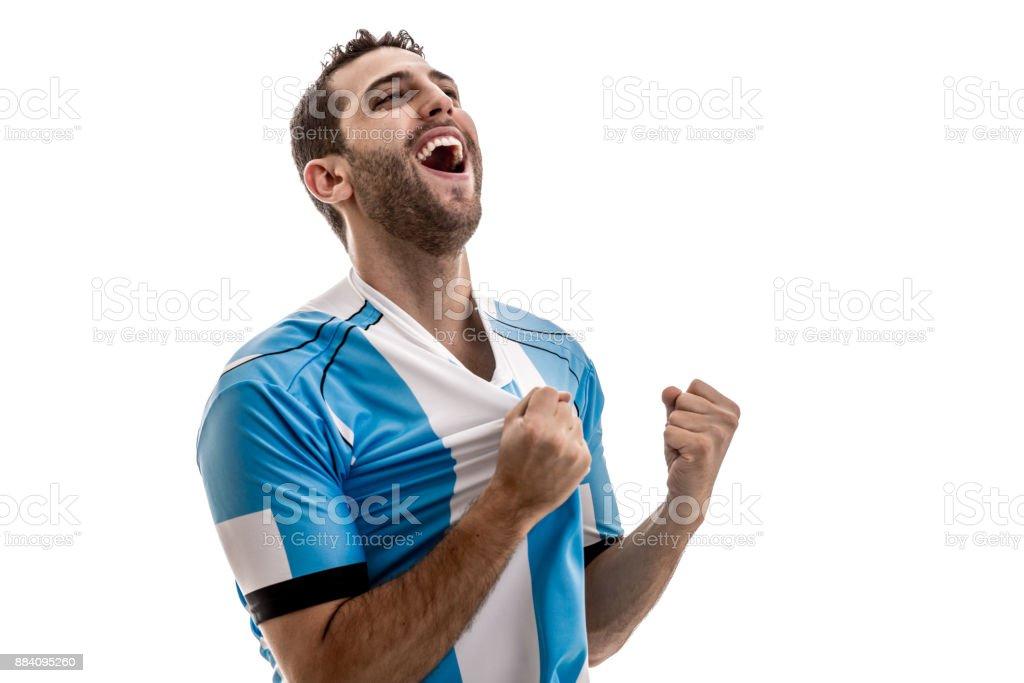 Soccer fan celebrating stock photo