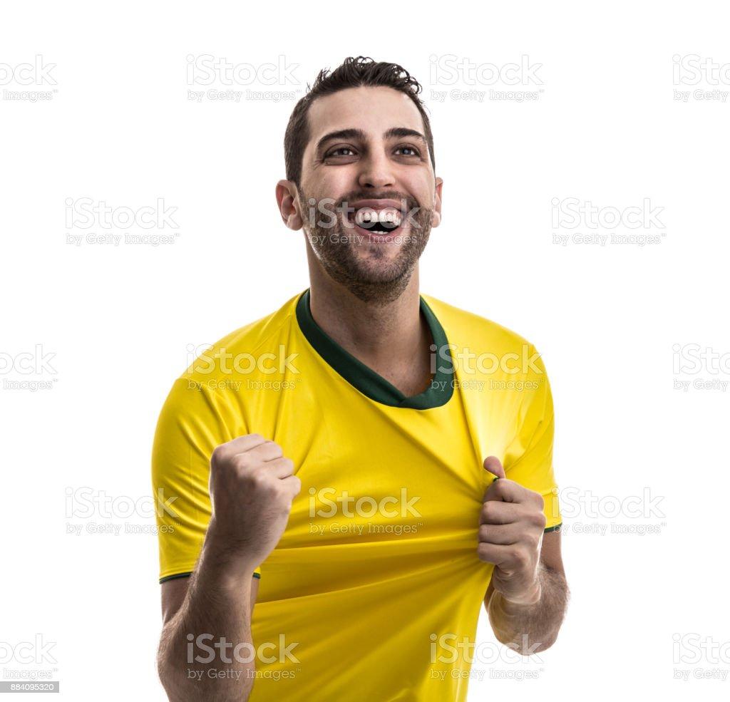 Fã de futebol comemorando - foto de acervo