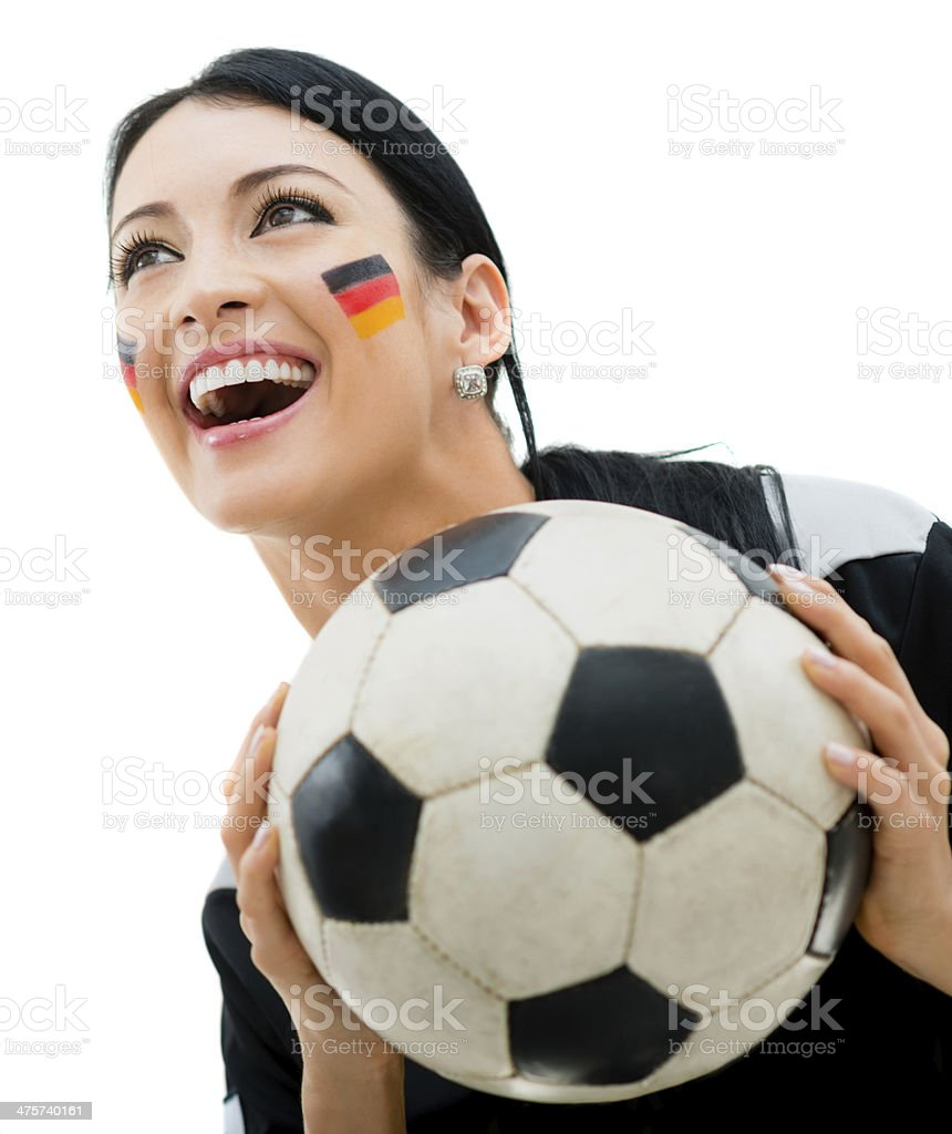 Soccer fan cheering for Germany royalty-free stock photo