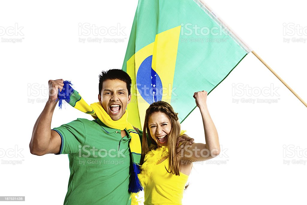 Fã de futebol casal apoio da equipe brasileira - foto de acervo