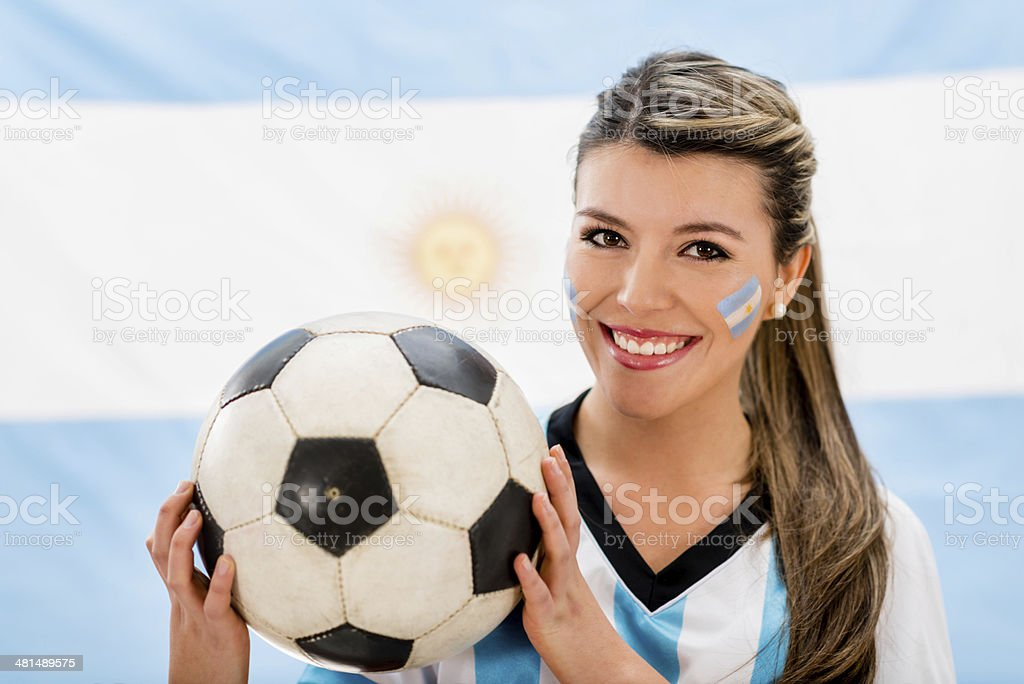 Soccer fan from Argentina stock photo